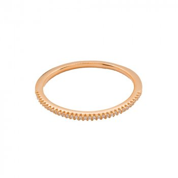 Sterling Silver Assorted Tiffany Inspired Rose Gold Plated Stackable CZ Ring (R-1078-R)