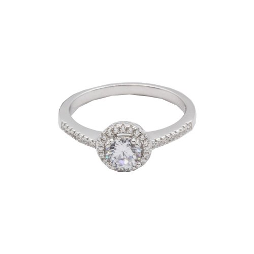 Silver Rhodium Plated Halo CZ Ring (R-1180)