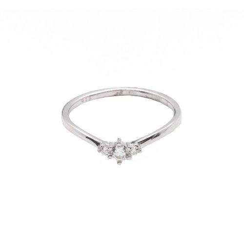 Silver Mini Tristone CZ Ring (R-1379)