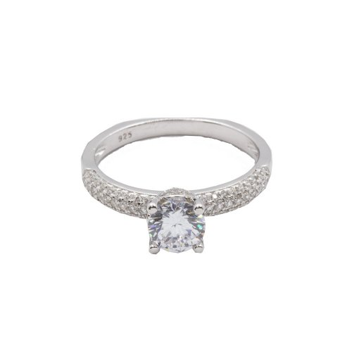 Sterling Silver CZ Ring with CZ on Sides (R-1398)