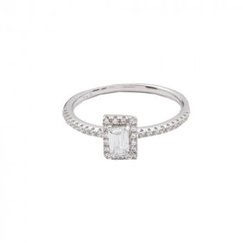 Sterling Silver CZ rectangle halo stone ring (R-1526)