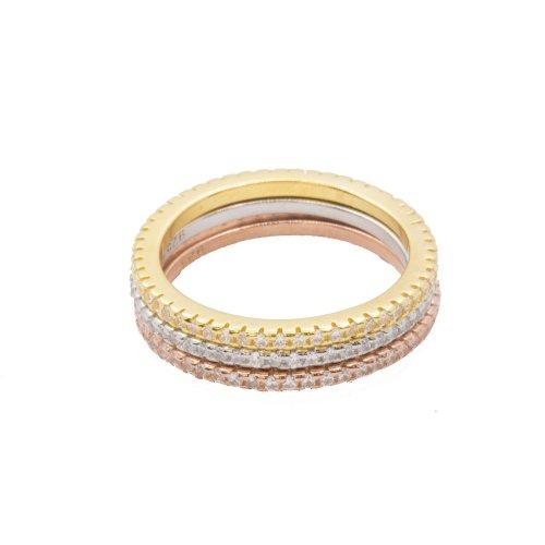 Silver Tri-Colour CZ Band Ring (R-1286)