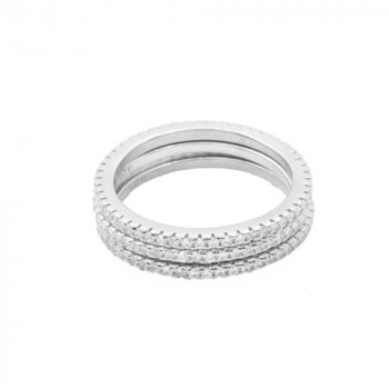 Silver Tri-colour CZ Band Ring Rhodium Plated (R-1286-RH)