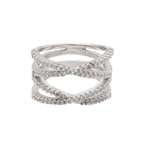 Silver Double Criss Cross CZ Ring (R-1210)