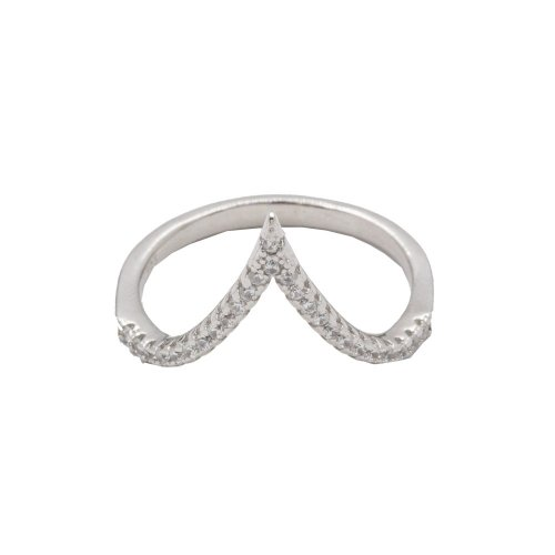 Silver Plain Curve Pointy CZ Ring (R-1212)