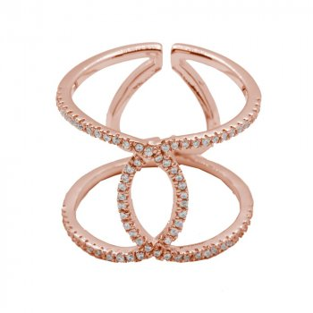 Silver Twisted Interlock CZ Ring Rose Gold Plated (R-1214-R)