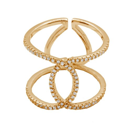Silver Gold PlatedTwisted Interlock CZ Ring (R-1214-G)