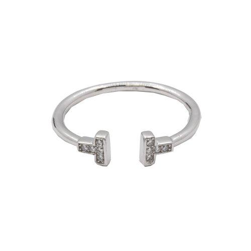 Silver CZ Tiffany T Ring (R-1311)