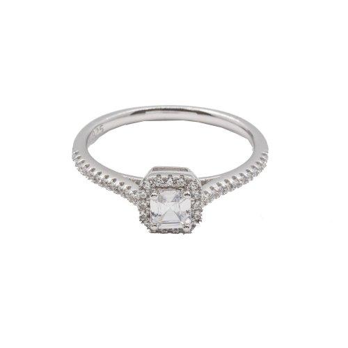 Silver CZ Halo Ring (R-1340)