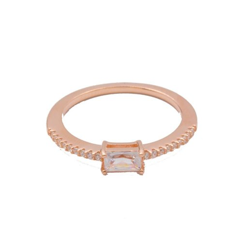 Silver Baguette Ring Rose Gold Plated (R-1341-R)