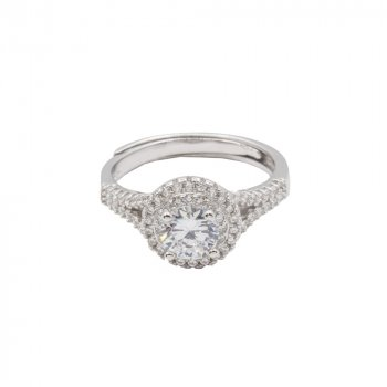Sterling Silver Halo CZ Ring (R-1352)