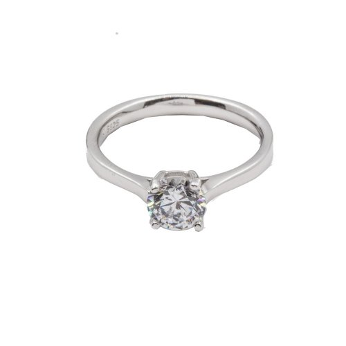 Sterling Silver CZ Plain 4-Prong Solitaire Ring (R-1384)