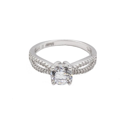 Sterling Silver CZ Classic Split Shank Engagement Ring (R-1388)