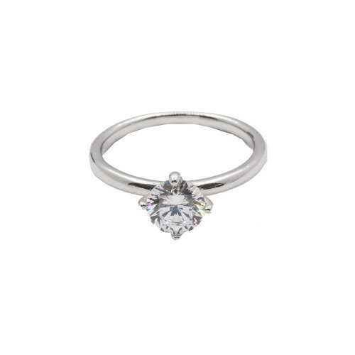 Sterling Silver CZ Classic NESW 4-Prong Solitaire Ring (R-1389)