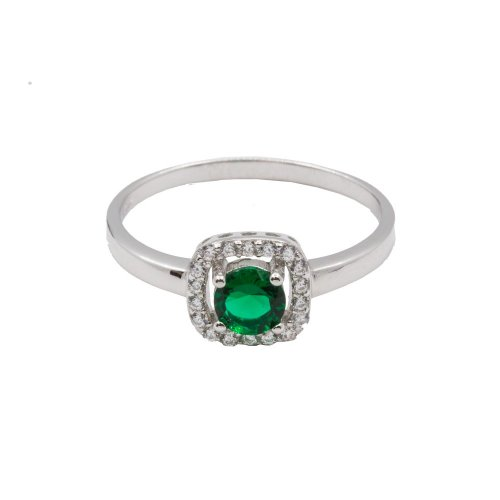 Sterling Silver Circle Emerald Stone CZ Surrounded Ring (R-1506-E)