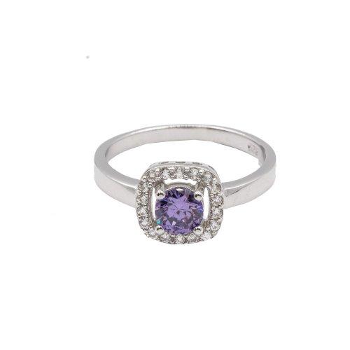 Silver Amethyst CZ Ring (R-1506-A)