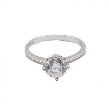 Sterling Silver CZ round ring (R-1512)