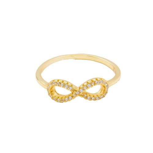 Sterling Silver CZ Infinity Ring Silver Yellow Gold Plated (R-1177-G)