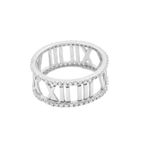 Silver Rhodium Plated CZ Roman Numeral Band Ring (R-1168)