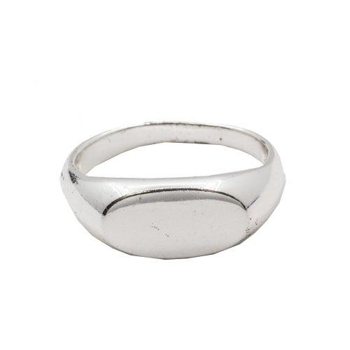 Silver Plain Flat Signet Ring (R-1203)