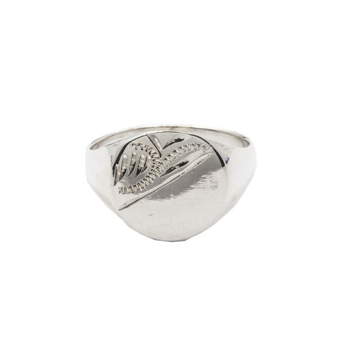 Silver Plain Engraved Flat Signet Ring (R-1204)