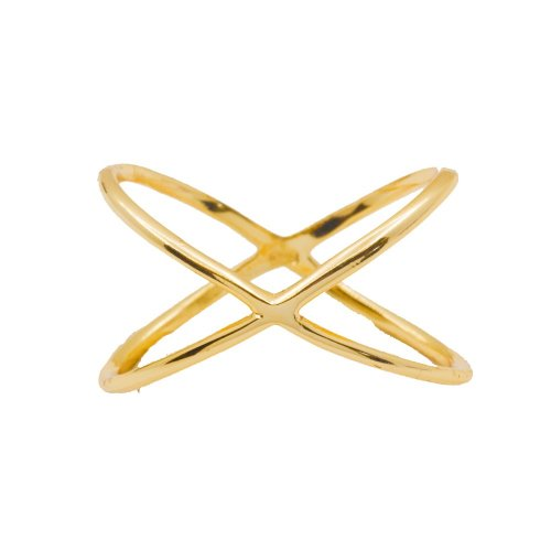 Silver Plain X-Shaped Ring Gold Plated (R-1296-G)