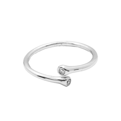 Silver Double CZ Open Band Ring (R-1326)