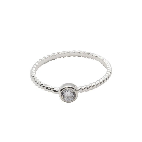Sterling Silver Rope Ring With CZ Solitaire (R-1374)