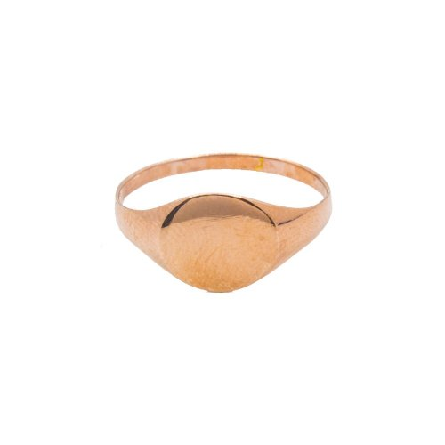 Sterling Silver Rose Plated Plain Oval Signet Ring (R-1375-R)
