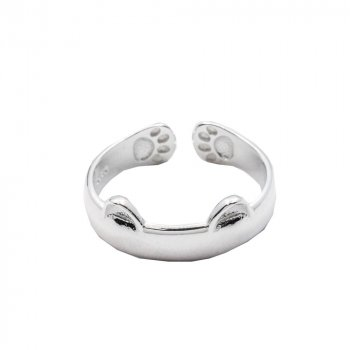 Sterling Silver Cat Ears and Paws Ring (R-1378)