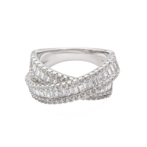 Sterling Silver Baguette CZ Cross Over Crystal Ring (R-1501)