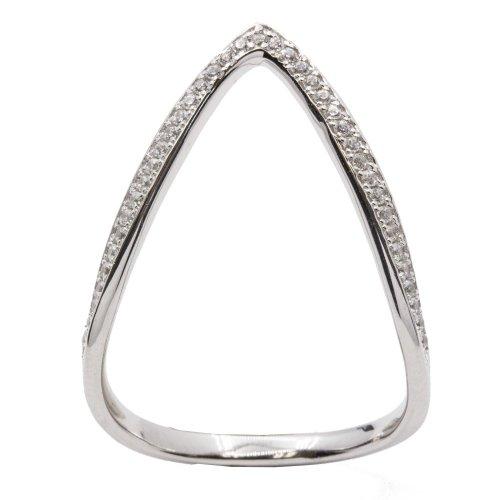 Sterling Silver CZ V-Shape Ring (R-1524)