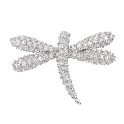 Sterling Silver CZ Dragonfly Pendant (P-1372)