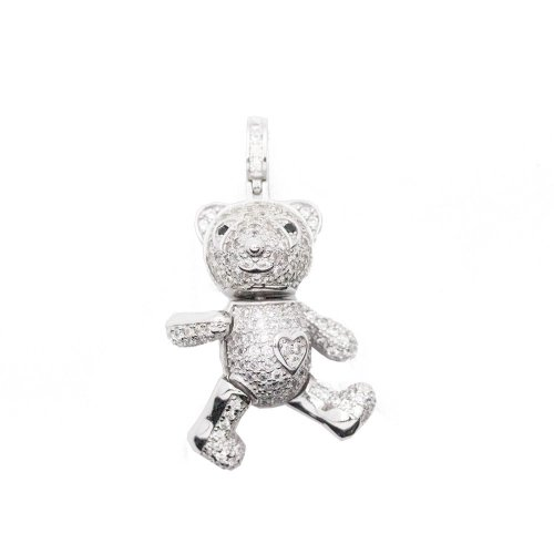 Sterling Silver CZ Teddy Bear Movable Pendant (P-1396)