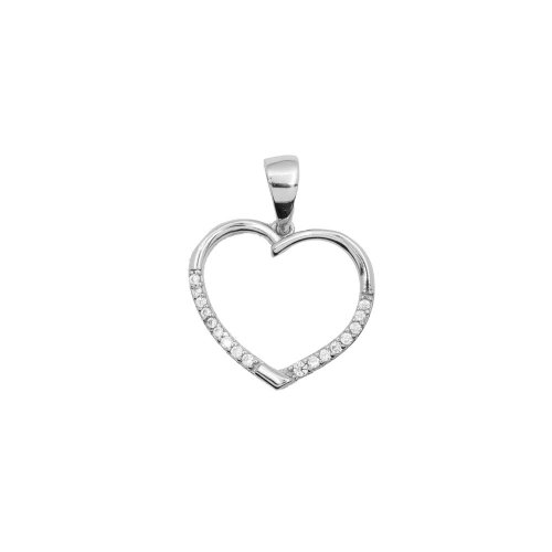 Silver CZ Heart Pendant (P-1321)