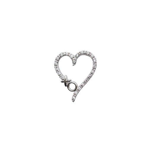 Sterling Silver Cubic Zirconia XO Heart Pendant (P-1125)