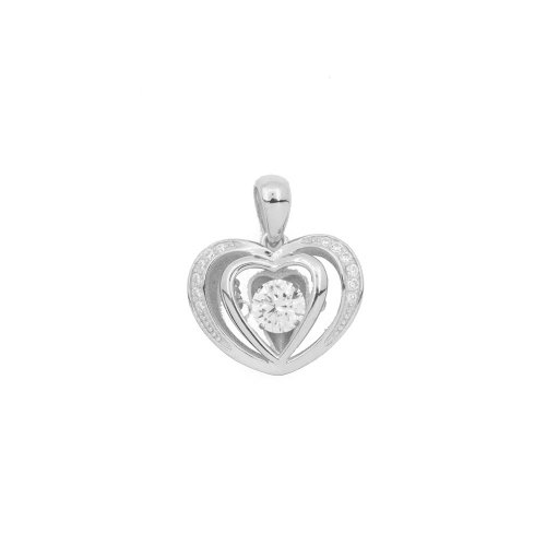 Sterling Silver Dancing Diamond Heart Pendent (P-1399)