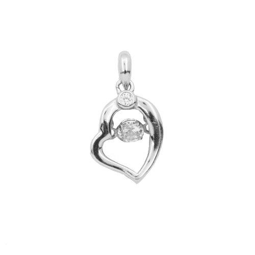 Silver CZ Dancing Diamond Heart Pendant (P-1324)