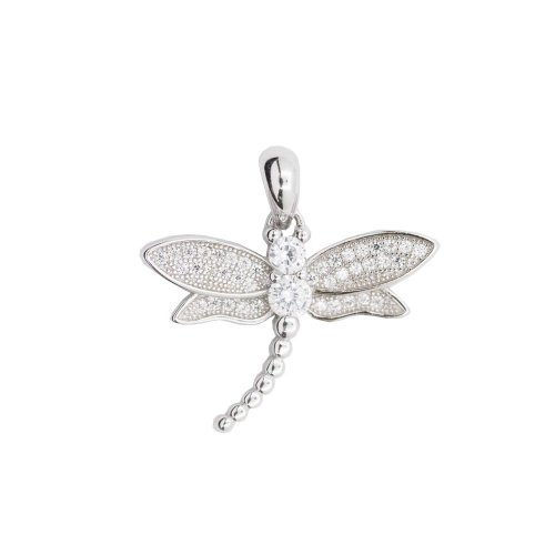 Silver CZ Dragonfly Pendant (P-1281)
