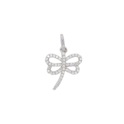 Silver CZ Open Dragonfly Pendant (P-1284)