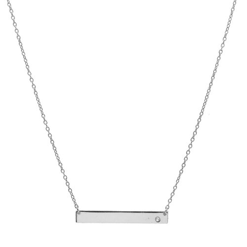 Sterling Silver Plain Bar with CZ Necklace (N-1122)