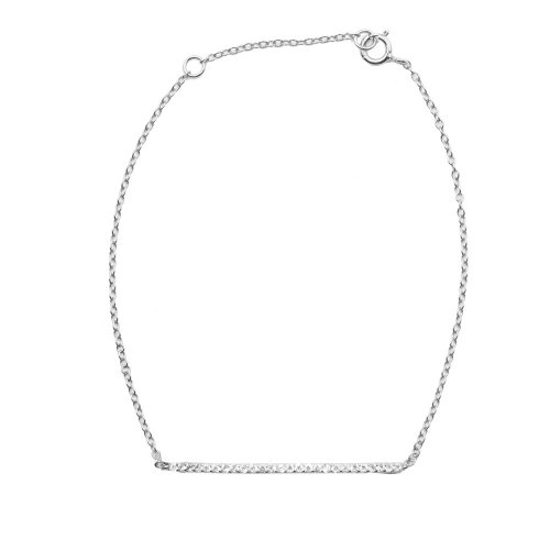 Sterling Silver CZ Bar Bracelet (BR-1198)