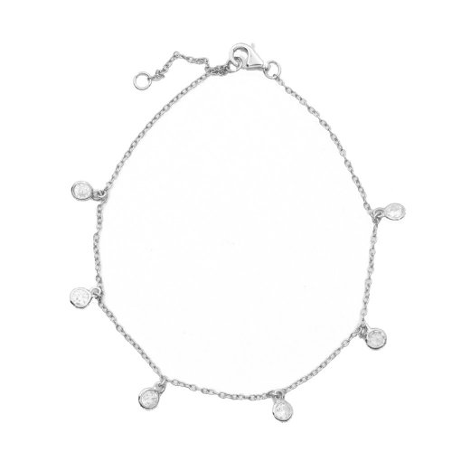 Sterling Silver Chain Bracelet with 6 CZ Flat Studs (BR-1188)