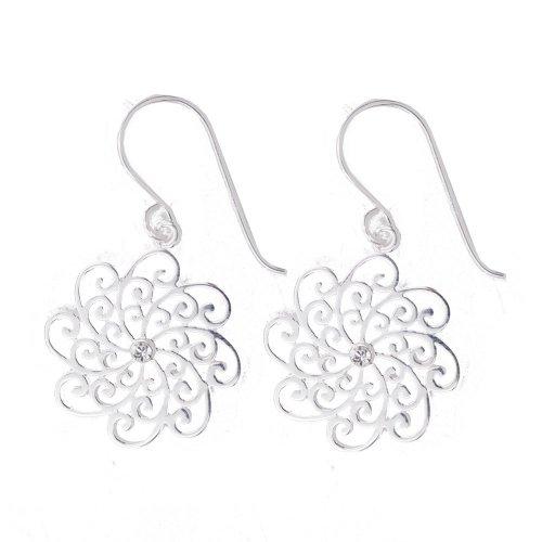 Silver Filigree CZ Dangle Earrings (ER-1059)