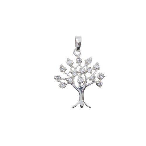 Sterling Silver CZ Tree of Life Pendant (P-1099)