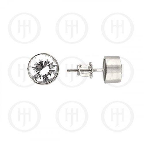 Silver CZ Stud Earrings Round Bezel 6mm (ST-1015-6)
