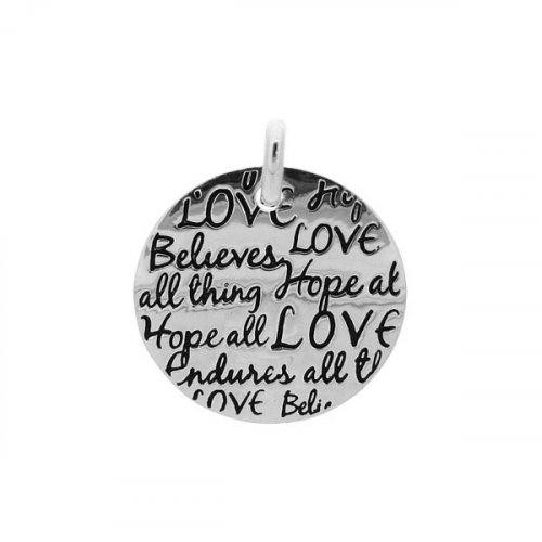 Sterling Silver Tiffany Inspired Inspirational Pendant Love, Believes, Hopes (Large) (P-1039)