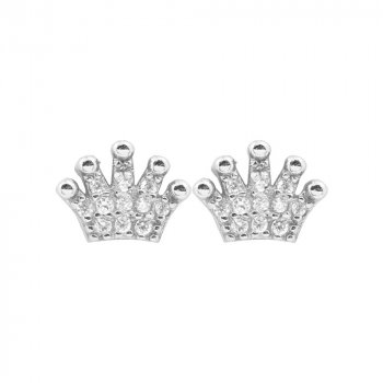 Sterling Silver Assorted Crown CZ Stud Earring (ST-1092)