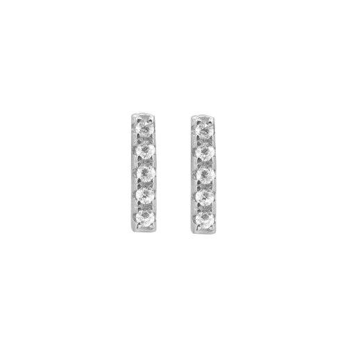Sterling Silver Assorted CZ Bar Stud Earrings (ST-1159)