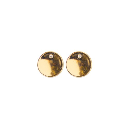 Sterling Silver Concave Circle Disk Studs with CZ (ST-1308)